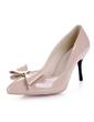 Rugan İnce Topuk Pompalar Kapalı Toe Ile Ilmek ayakkabı (085038651)
