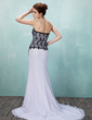 A-Line/Princess Sweetheart Court Train Chiffon Lace Wedding Dress With Beading Split Front (002011733)