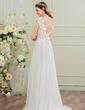 A-Line/Princess Scoop Neck Sweep Train Chiffon Wedding Dress With Bow(s) (002107557)