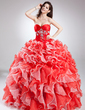 Ball-Gown Sweetheart Floor-Length Organza Quinceanera Dress With Beading Cascading Ruffles (021015811)
