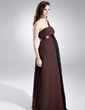 Empire One-Shoulder Floor-Length Chiffon Maternity Bridesmaid Dress With Ruffle (045022490)