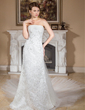 A-Line/Princess Strapless Watteau Train Detachable Tulle Lace Wedding Dress With Ruffle Beading (002011962)