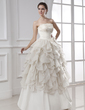 Ball-Gown Strapless Floor-Length Chiffon Satin Wedding Dress With Ruffle Lace Flower(s) Cascading Ruffles (002015482)