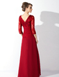 A-Line/Princess V-neck Floor-Length Chiffon Lace Mother of the Bride Dress With Ruffle Beading Sequins (008006076)