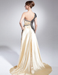 A-Line/Princess One-Shoulder Sweep Train Charmeuse Mother of the Bride Dress With Ruffle Beading Sequins (008015008)