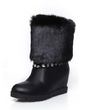 Leatherette Wedge Heel Ankle Boots With Rhinestone shoes (088057248)