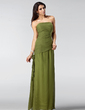 A-Line/Princess Strapless Floor-Length Chiffon Bridesmaid Dress With Ruffle Flower(s) (008005212)