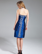 Sheath/Column Halter Knee-Length Taffeta Cocktail Dress With Beading (016019125)