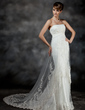 Trumpet/Mermaid Sweetheart Court Train Tulle Wedding Dress With Ruffle Lace (002017186)
