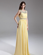 A-Line/Princess Scoop Neck Floor-Length Chiffon Prom Dress With Ruffle Beading (018015631)