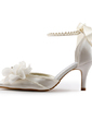 Women's Satin Stiletto Heel Closed Toe Pumps With Imitation Pearl (047005172)