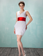 Sheath/Column V-neck Short/Mini Chiffon Homecoming Dress With Ruffle Sash Beading (022009846)
