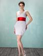 Wąska Dekolt w Serek Krótka/Mini Chiffon Charmeuse Sukienka na Zjazd Absolwentów Z Żabot Szarfy Perełki (022009846)