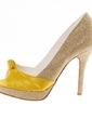 Women's Leatherette Satin Stiletto Heel Peep Toe Pumps With Ribbon Tie (047039111)
