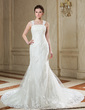 Trumpet/Mermaid Square Neckline Court Train Tulle Wedding Dress With Beading Appliques Lace Sequins Bow(s) (002000633)