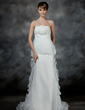 Empire Strapless Court Train Satin Organza Wedding Dress With Flower(s) Cascading Ruffles (002017179)