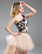 Sheath/Column One-Shoulder Asymmetrical Detachable Tulle Prom Dress With Embroidered Beading Appliques Lace Cascading Ruffles (018019123)