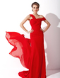 A-Line/Princess Off-the-Shoulder Watteau Train Chiffon Mother of the Bride Dress With Ruffle (008006142)