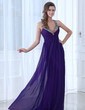 A-Line/Princess V-neck Floor-Length Chiffon Evening Dress With Ruffle Beading (017017396)