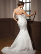 Trumpet/Mermaid Sweetheart Court Train Satin Wedding Dress With Lace Beading (002000108)