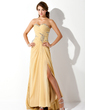 A-Line/Princess Sweetheart Sweep Train Chiffon Prom Dress With Ruffle Beading Sequins Split Front (018021083)