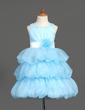 Linia A/Księżniczka Do Kolan Flower Girl Dress - Organza/Satyna Bez Rękawów Dekolt łódka Z Szarfy/Kwiat(y) (010007781)