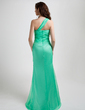 Sheath/Column One-Shoulder Asymmetrical Chiffon Prom Dress With Ruffle Beading (018015776)