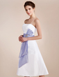 A-Line/Princess Sweetheart Knee-Length Taffeta Wedding Dress With Ruffle Sash Crystal Brooch (002001583)