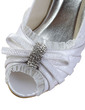 Women's Satin Cone Heel Peep Toe Sandals With Bowknot Rhinestone (047033117)