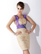Sheath/Column Square Neckline Short/Mini Taffeta Cocktail Dress With Ruffle Sash Beading Appliques Lace (016008269)