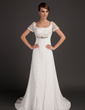 A-Line/Princess Scoop Neck Court Train Chiffon Wedding Dress With Lace Beading (002015553)