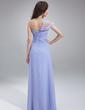 A-Line/Princess One-Shoulder Floor-Length Chiffon Bridesmaid Dress With Cascading Ruffles (007018787)