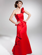 Trumpet/Mermaid One-Shoulder Floor-Length Satin Prom Dress With Cascading Ruffles (018014697)