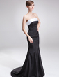Trumpet/Mermaid Strapless Sweep Train Satin Mother of the Bride Dress With Sash (008025994)