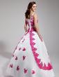 Balo Elbisesi V Yaka Uzun Etekli Organza Quinceanera (15 Yaş) Elbisesi Ile Nakışlı Boncuklama Pullarda (021003113)