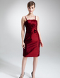 Sheath/Column Knee-Length Taffeta Mother of the Bride Dress With Ruffle Flower(s) (008005633)