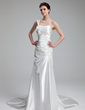 A-Line/Princess One-Shoulder Court Train Charmeuse Wedding Dress With Ruffle Beading (002011533)