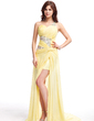A-Line/Princess One-Shoulder Sweep Train Chiffon Prom Dress With Ruffle Beading Split Front (018019108)