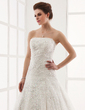 A-Line/Princess Strapless Cathedral Train Lace Wedding Dress With Beading (002011586)