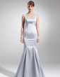 Trumpet/Mermaid V-neck Floor-Length Charmeuse Mother of the Bride Dress With Ruffle Crystal Brooch (008016246)
