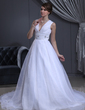 Ball-Gown V-neck Chapel Train Satin Organza Wedding Dress With Ruffle Beading (002001413)