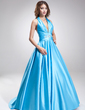 A-Line/Princess Halter Sweep Train Satin Prom Dress With Ruffle Beading (018002743)