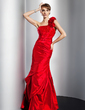 Trumpet/Mermaid One-Shoulder Floor-Length Taffeta Prom Dress With Ruffle Beading (018014775)