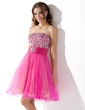 A-Line/Princess Strapless Knee-Length Tulle Homecoming Dress With Ruffle Beading (022010868)