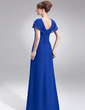 A-Line/Princess V-neck Floor-Length Chiffon Mother of the Bride Dress With Beading Cascading Ruffles (008006035)