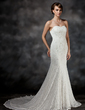 Trumpet/Mermaid Sweetheart Chapel Train Lace Wedding Dress With Beading (002017421)