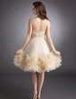A-Line/Princess Strapless Knee-Length Tulle Homecoming Dress With Ruffle (022008935)