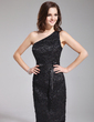 Sheath/Column One-Shoulder Knee-Length Lace Bridesmaid Dress With Sash (007019658)