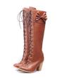 Suni deri Kalın Topuk Diz Yüksek Boots Ile Ilmek ayakkabı (088057253)