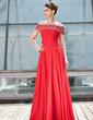 A-Line/Princess Off-the-Shoulder Floor-Length Chiffon Mother of the Bride Dress With Ruffle Beading Sequins (008018927)